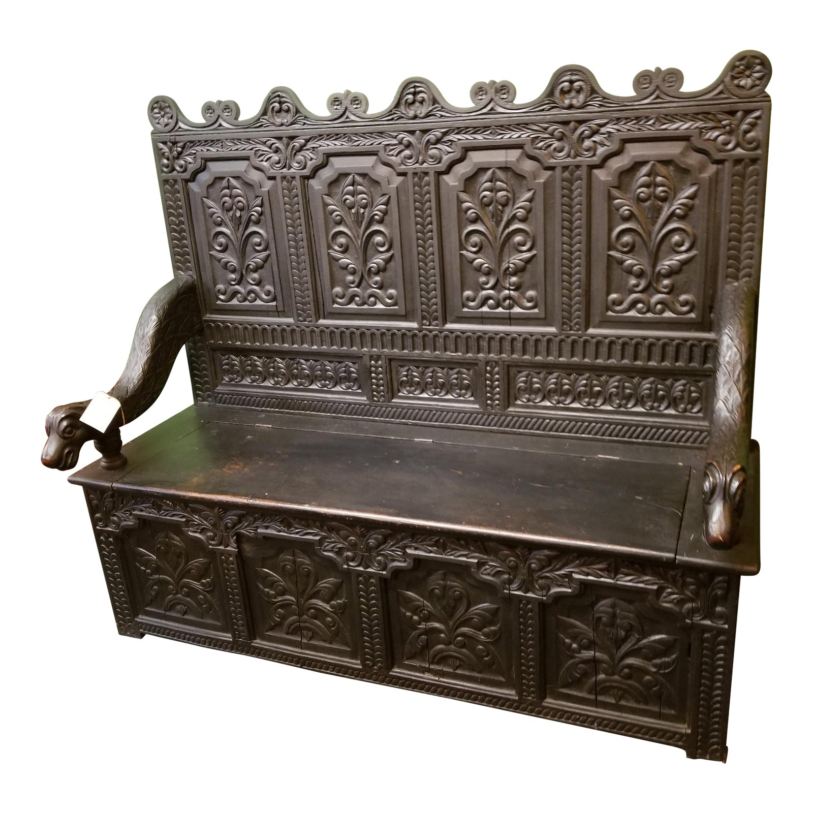High Back Box Settee Bench From France
